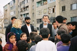 Marla Ruzicka, founder of CIVIC, talks to civilians in Kabul in 2002. The Clinic has worked with CIVIC on several projects over the years.